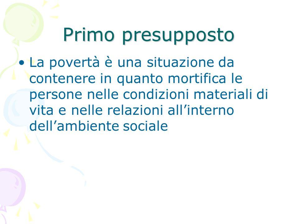 Primo presupposto La povertà è una situazione da contenere in quanto mortifica le persone nelle condizioni materiali di vita e nelle relazioni all'interno dell'ambiente sociale