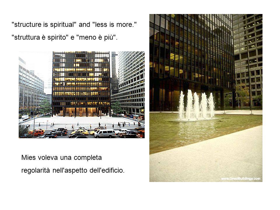 Mies voleva una completa regolarità nell'aspetto dell'edificio.