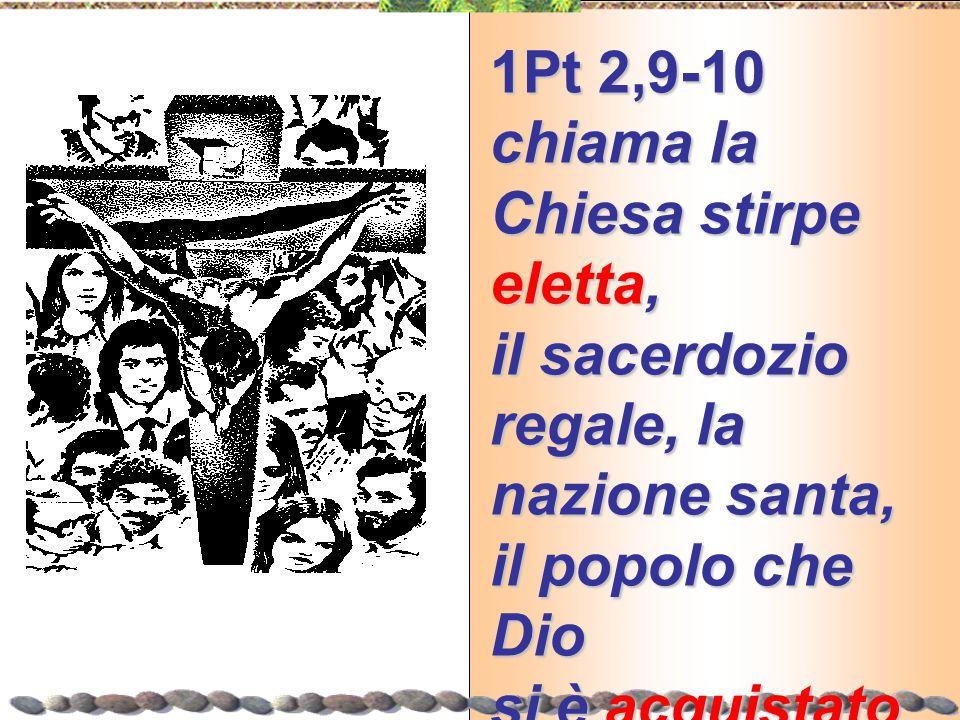 1Pt 2,9-10 chiama la Chiesa stirpe eletta, il sacerdozio regale, la nazione santa, il popolo che Dio si è acquistato Come si entra per farne parte?