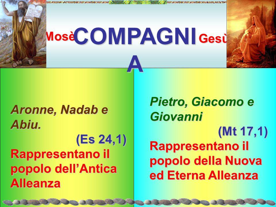 Gesù Mosè COMPAGNI A Aronne, Nadab e Abiu. (Es 24,1) Rappresentano il popolo dell'Antica Alleanza Pietro, Giacomo e Giovanni (Mt 17,1) Rappresentano i