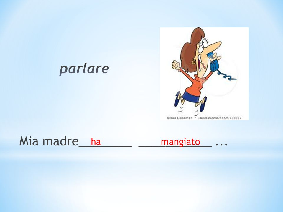 Mia madre________ ___________... hamangiato