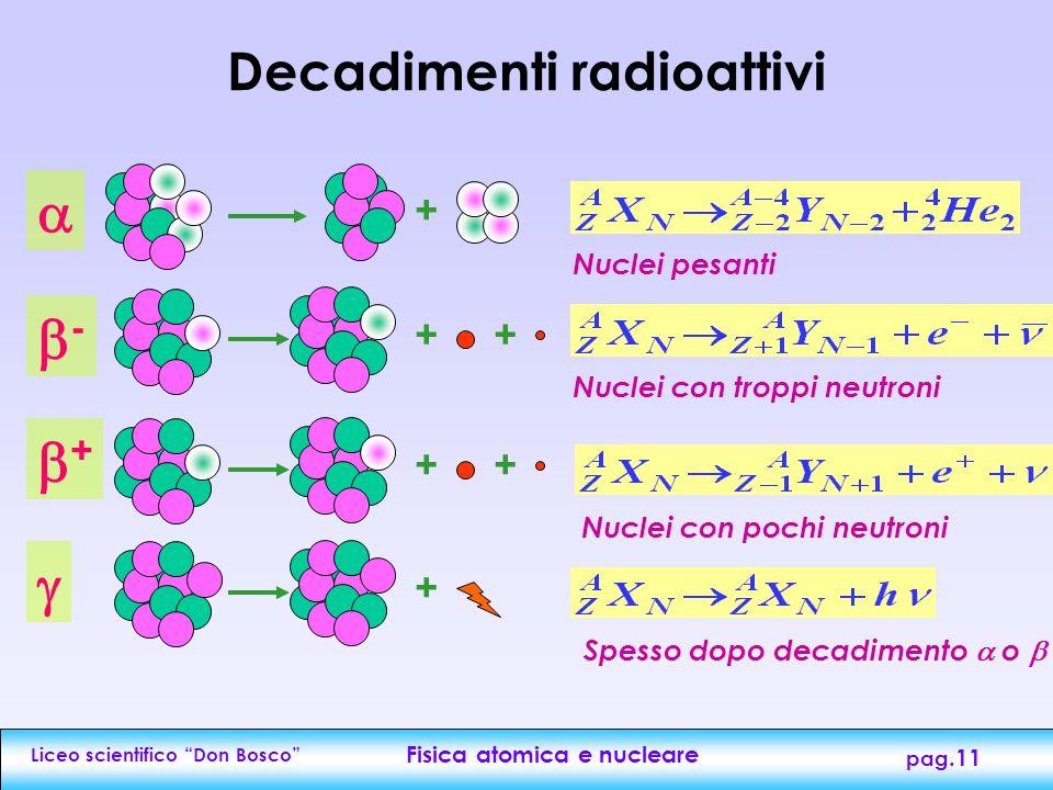 """Liceo scientifico """"Don Bosco"""" Fisica atomica e nucleare pag.10 Radioattivita' Radioattività = trasformazione spontanea o artificiale dei nuclei con em"""