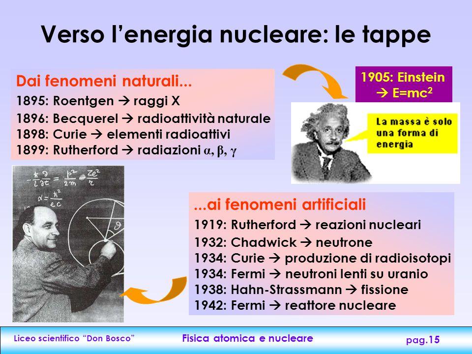 """Liceo scientifico """"Don Bosco"""" Fisica atomica e nucleare pag.14 La fusione nucleare I nuclei leggeri (Z<15), in condizioni particolari (es. altissime t"""
