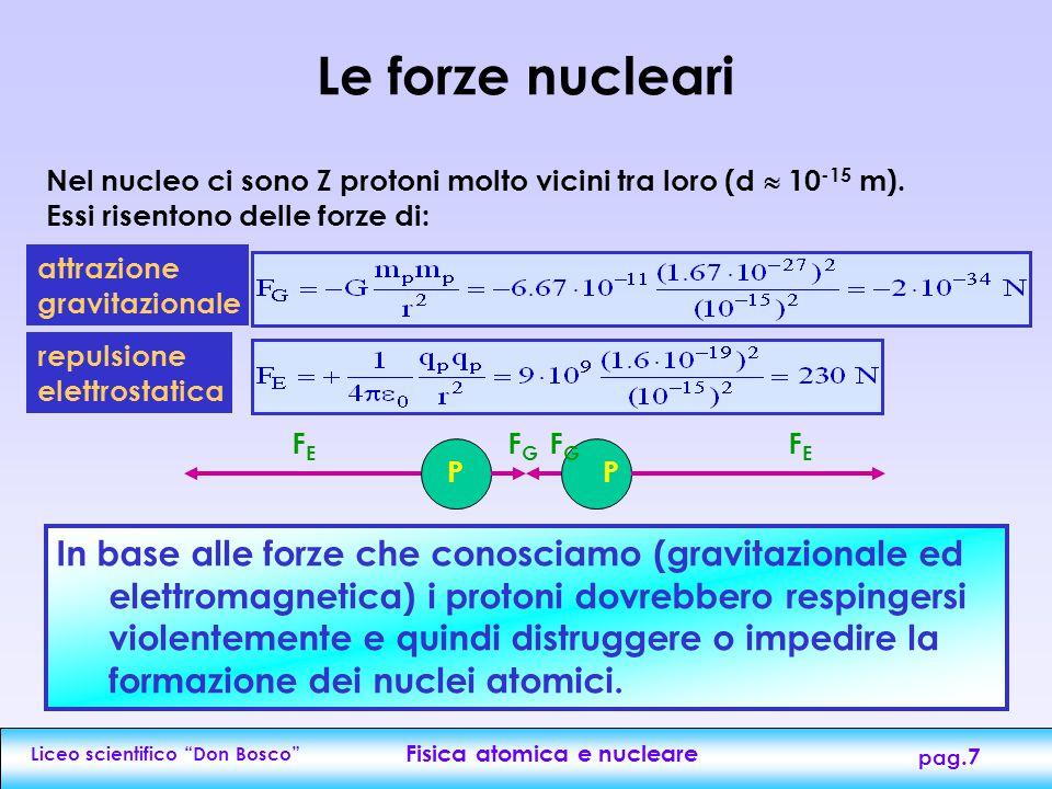 Liceo scientifico Don Bosco Fisica atomica e nucleare pag.7 Nel nucleo ci sono Z protoni molto vicini tra loro (d  10 -15 m).