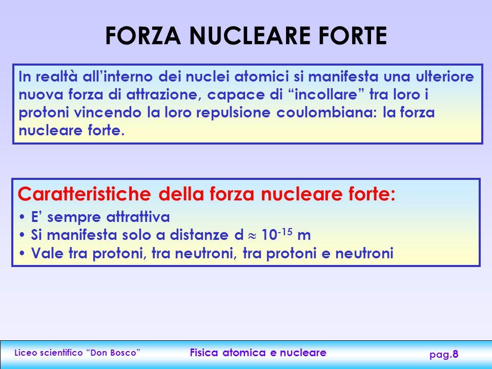 Liceo scientifico Don Bosco Fisica atomica e nucleare pag.8 In realtà all'interno dei nuclei atomici si manifesta una ulteriore nuova forza di attrazione, capace di incollare tra loro i protoni vincendo la loro repulsione coulombiana: la forza nucleare forte.