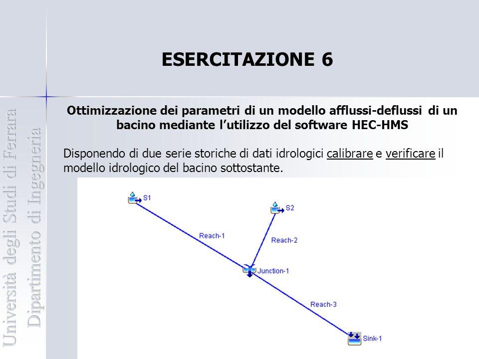 ESERCITAZIONE 6 Ottimizzazione dei parametri di un modello afflussi-deflussi di un bacino mediante l'utilizzo del software HEC-HMS Disponendo di due s