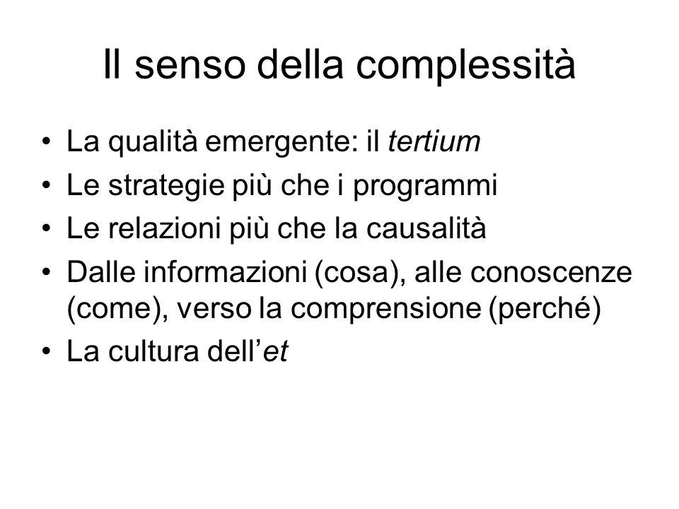Il senso della complessità La qualità emergente: il tertium Le strategie più che i programmi Le relazioni più che la causalità Dalle informazioni (cosa), alle conoscenze (come), verso la comprensione (perché) La cultura dell'et