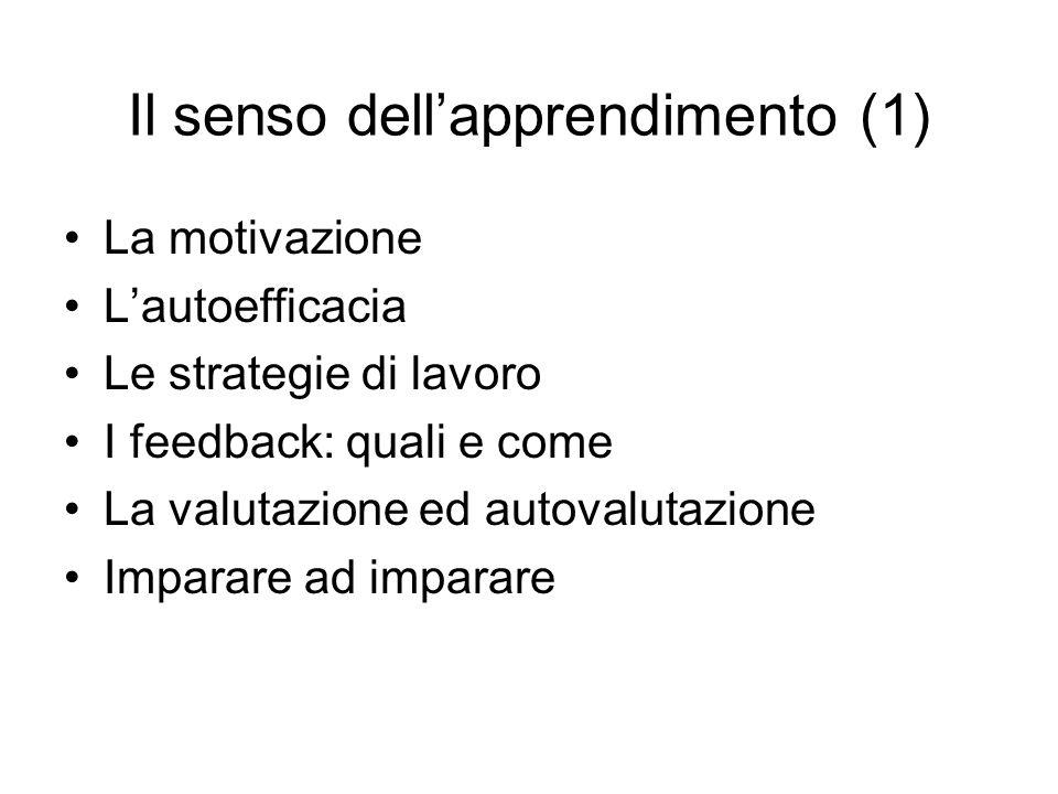 Il senso dell'apprendimento (1) La motivazione L'autoefficacia Le strategie di lavoro I feedback: quali e come La valutazione ed autovalutazione Imparare ad imparare