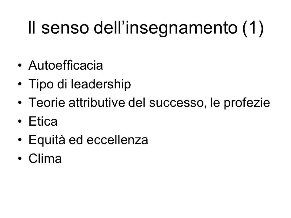 Il senso dell'insegnamento (1) Autoefficacia Tipo di leadership Teorie attributive del successo, le profezie Etica Equità ed eccellenza Clima