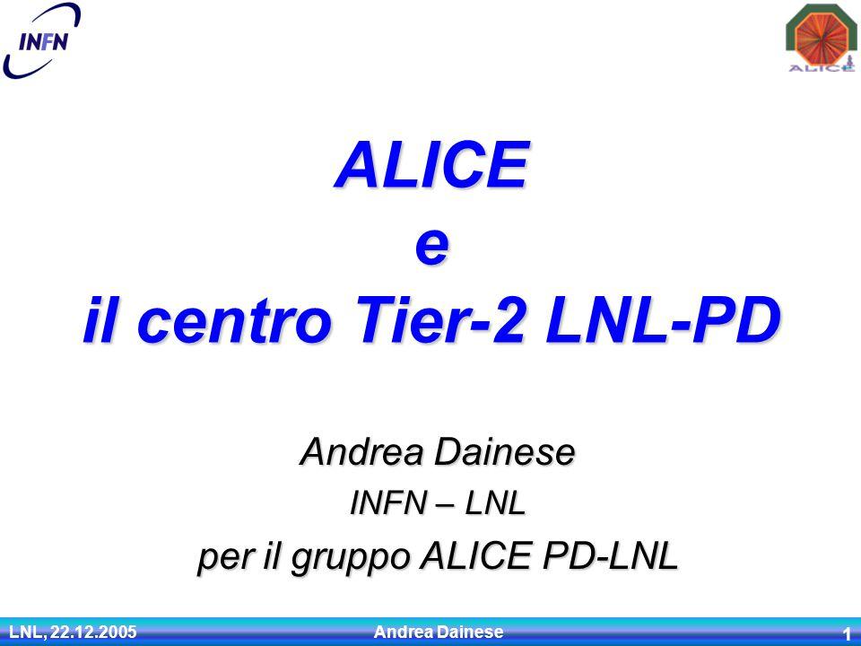 LNL, 22.12.2005 Andrea Dainese 1 Andrea Dainese INFN – LNL per il gruppo ALICE PD-LNL ALICE e il centro Tier-2 LNL-PD