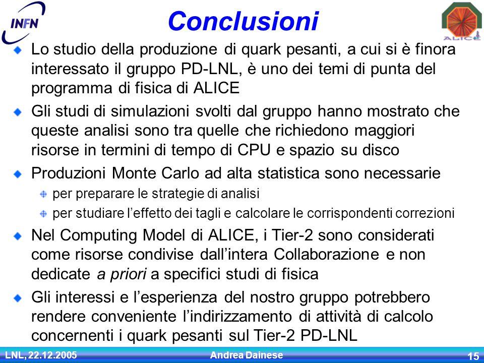 LNL, 22.12.2005 Andrea Dainese 15 Conclusioni Lo studio della produzione di quark pesanti, a cui si è finora interessato il gruppo PD-LNL, è uno dei temi di punta del programma di fisica di ALICE Gli studi di simulazioni svolti dal gruppo hanno mostrato che queste analisi sono tra quelle che richiedono maggiori risorse in termini di tempo di CPU e spazio su disco Produzioni Monte Carlo ad alta statistica sono necessarie per preparare le strategie di analisi per studiare l'effetto dei tagli e calcolare le corrispondenti correzioni Nel Computing Model di ALICE, i Tier-2 sono considerati come risorse condivise dall'intera Collaborazione e non dedicate a priori a specifici studi di fisica Gli interessi e l'esperienza del nostro gruppo potrebbero rendere conveniente l'indirizzamento di attività di calcolo concernenti i quark pesanti sul Tier-2 PD-LNL