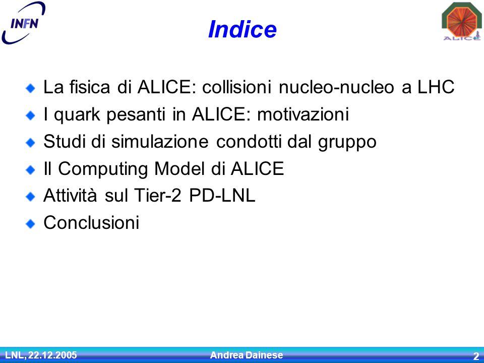 LNL, 22.12.2005 Andrea Dainese 2 Indice La fisica di ALICE: collisioni nucleo-nucleo a LHC I quark pesanti in ALICE: motivazioni Studi di simulazione condotti dal gruppo Il Computing Model di ALICE Attività sul Tier-2 PD-LNL Conclusioni