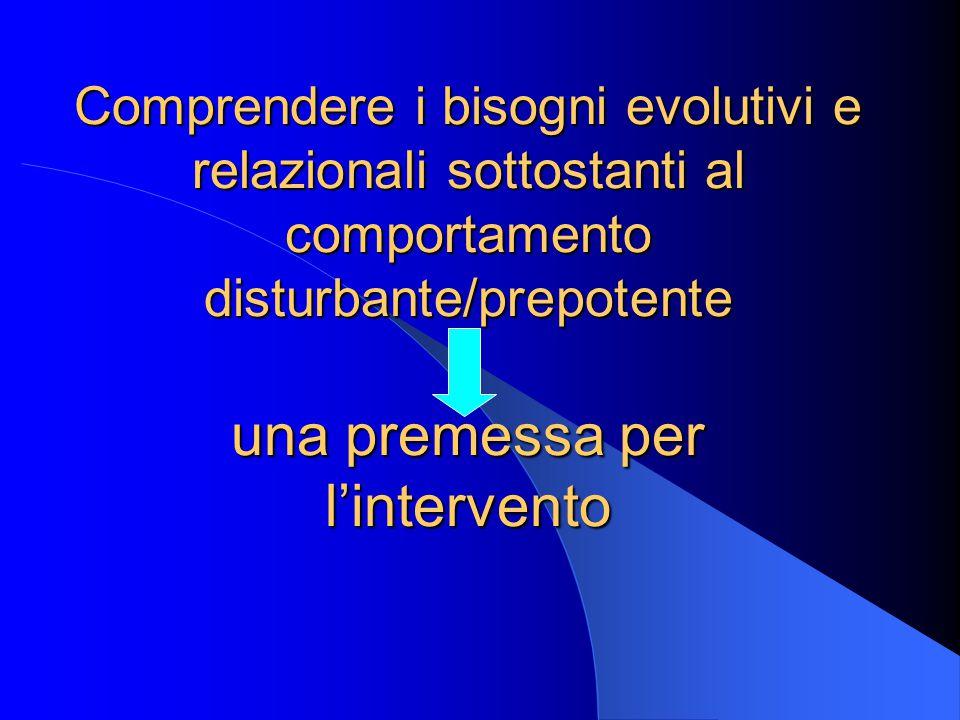 Comprendere i bisogni evolutivi e relazionali sottostanti al comportamento disturbante/prepotente una premessa per l'intervento