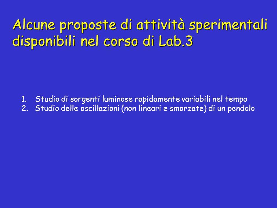 Alcune proposte di attività sperimentali disponibili nel corso di Lab.3 1.Studio di sorgenti luminose rapidamente variabili nel tempo 2.