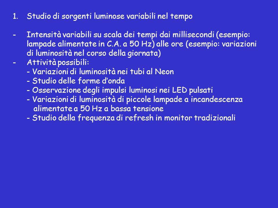 1.Studio di sorgenti luminose variabili nel tempo -Intensità variabili su scala dei tempi dai millisecondi (esempio: lampade alimentate in C.A.