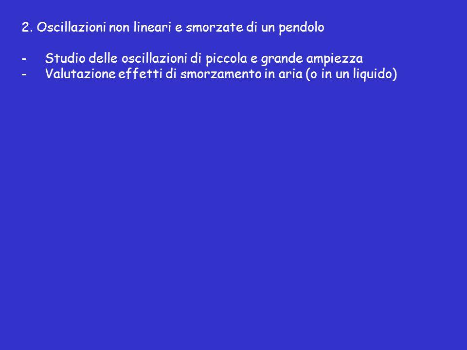 2. Oscillazioni non lineari e smorzate di un pendolo -Studio delle oscillazioni di piccola e grande ampiezza -Valutazione effetti di smorzamento in ar