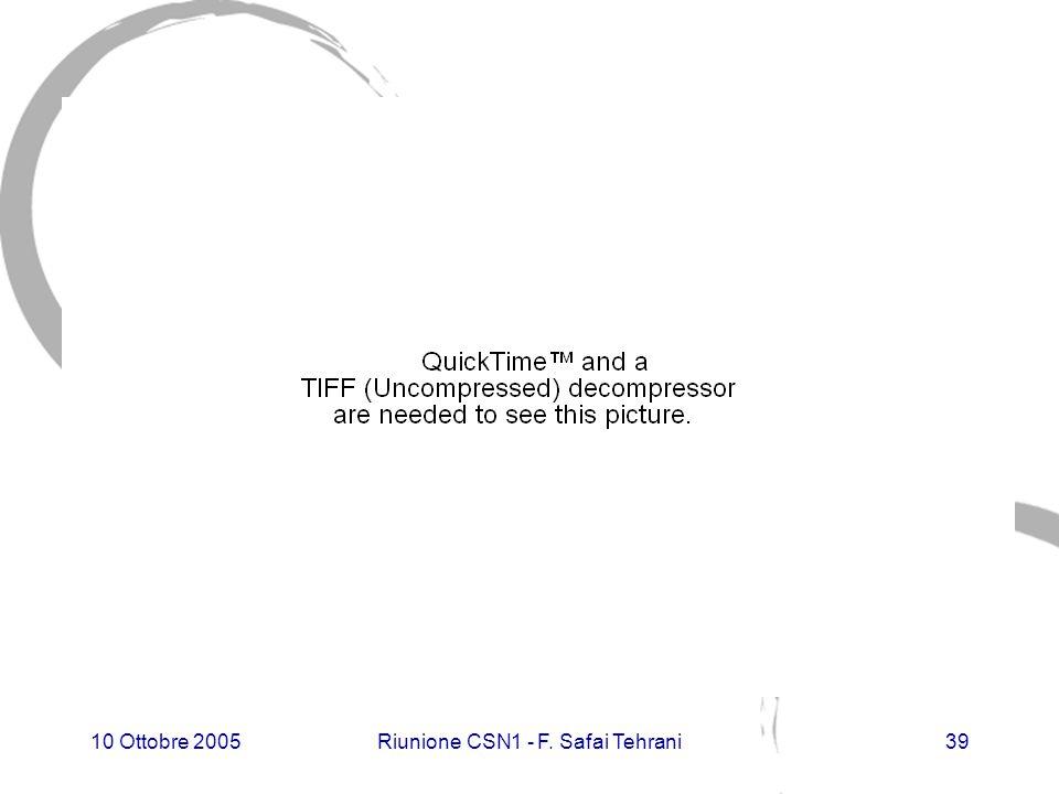 10 Ottobre 2005Riunione CSN1 - F. Safai Tehrani39