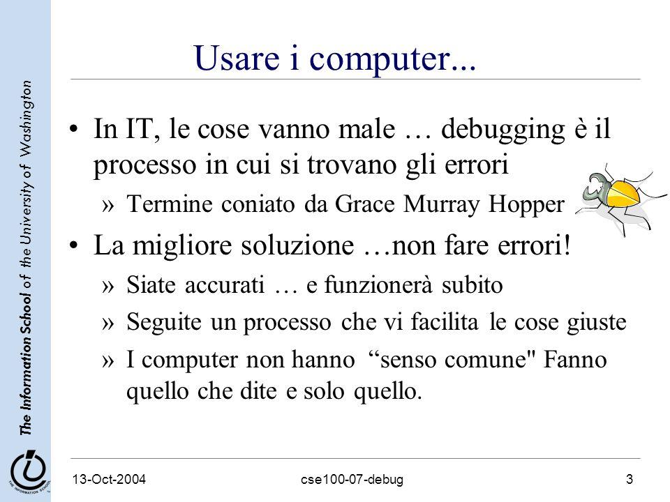 The Information School of the University of Washington 13-Oct-2004cse100-07-debug4 Quando fate il Debug...