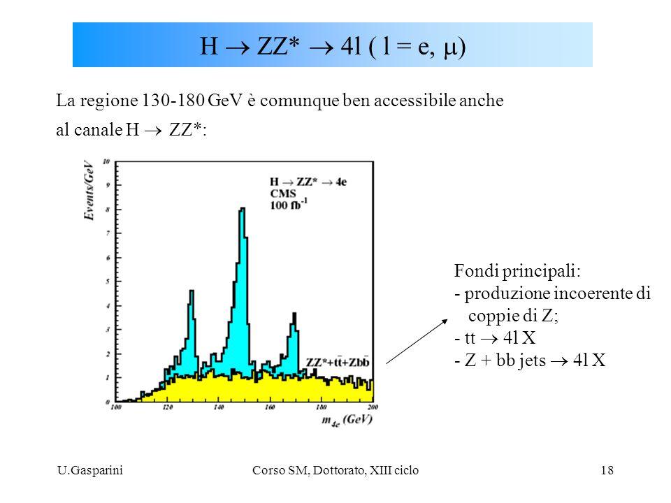 U.GaspariniCorso SM, Dottorato, XIII ciclo18 H  ZZ*  4l  l = e  La regione 130-180 GeV è comunque ben accessibile anche al canale H  ZZ*: Fon