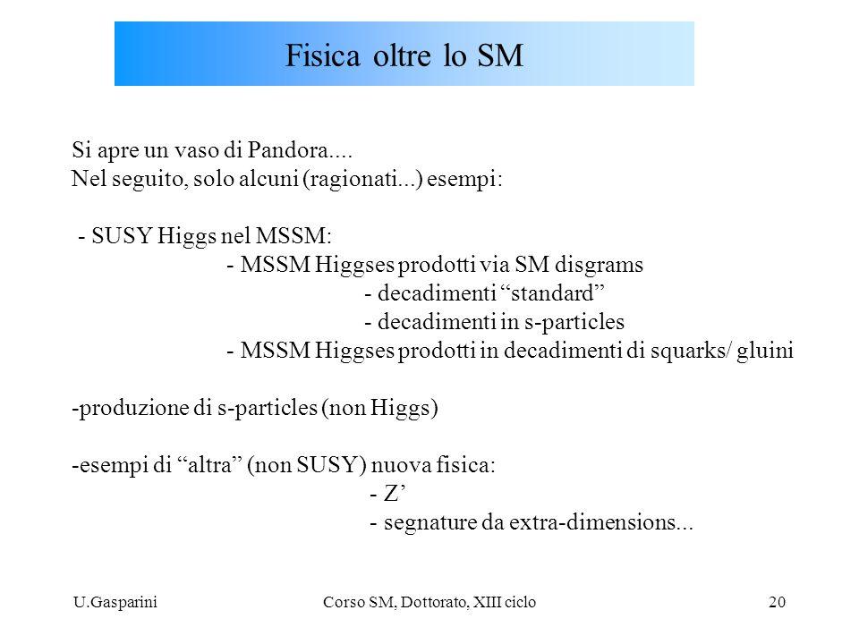 U.GaspariniCorso SM, Dottorato, XIII ciclo20 Fisica oltre lo SM Si apre un vaso di Pandora.... Nel seguito, solo alcuni (ragionati...) esempi: - SUSY