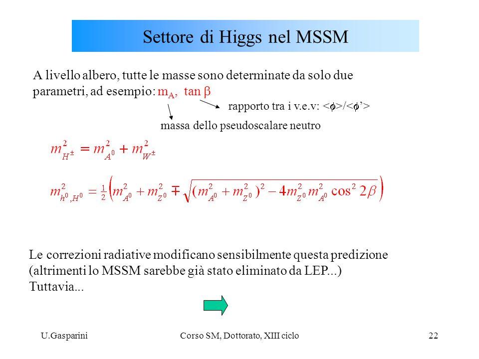 U.GaspariniCorso SM, Dottorato, XIII ciclo22 Settore di Higgs nel MSSM A livello albero, tutte le masse sono determinate da solo due parametri, ad esempio: m A, tan  massa dello pseudoscalare neutro rapporto tra i v.e.v: / Le correzioni radiative modificano sensibilmente questa predizione (altrimenti lo MSSM sarebbe già stato eliminato da LEP...) Tuttavia...