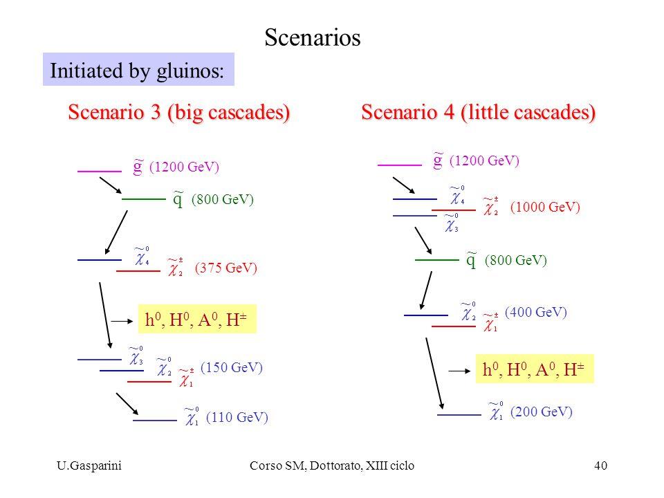 U.GaspariniCorso SM, Dottorato, XIII ciclo40 Scenarios g (1200 GeV) ~ q (800 GeV) ~ ~ ~ ~ ~ h 0, H 0, A 0, H ± (150 GeV) (110 GeV) ~ (375 GeV) ~ g (12