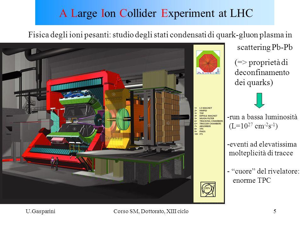 U.GaspariniCorso SM, Dottorato, XIII ciclo5 A Large Ion Collider Experiment at LHC Fisica degli ioni pesanti: studio degli stati condensati di quark-gluon plasma in scattering Pb-Pb -run a bassa luminosità (L=10 27 cm -2 s -1 ) -eventi ad elevatissima molteplicità di tracce - cuore del rivelatore: enorme TPC (=> proprietà di deconfinamento dei quarks)