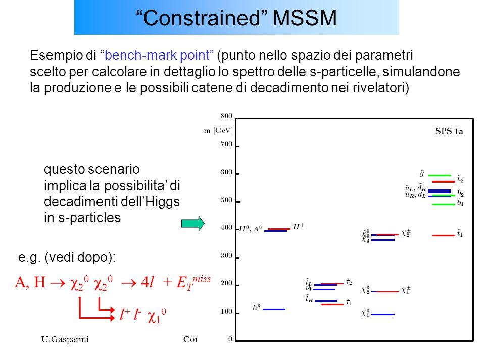 """U.GaspariniCorso SM, Dottorato, XX ciclo27 """"Constrained"""" MSSM Esempio di """"bench-mark point"""" (punto nello spazio dei parametri scelto per calcolare in"""