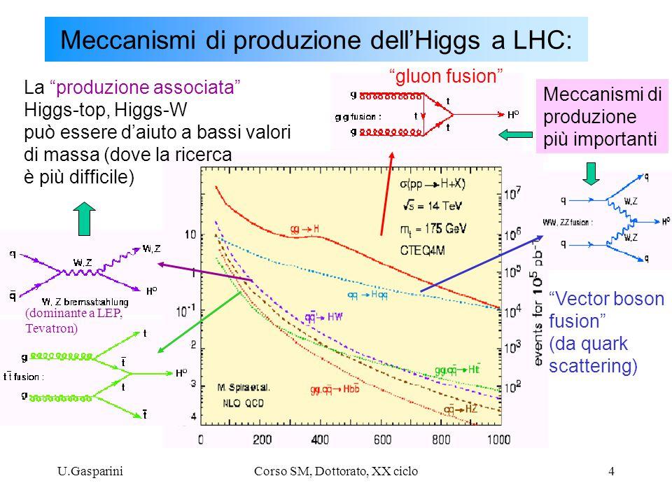 U.GaspariniCorso SM, Dottorato, XX ciclo15 H  ZZ ad alte masse (m H >0.5 TeV) Per m H >0.5 TeV la sezione d'urto di produzionde diventa piccola: - e' necessario utilizzare anche I decadimenti adronici di una delle due Z - cio' e' possibile, perche' a masse elevate, il fondo da jets di QCD e' piccolo - tuttavia, laricerca necessita di elevata luminosita' integrata: 100fb -1