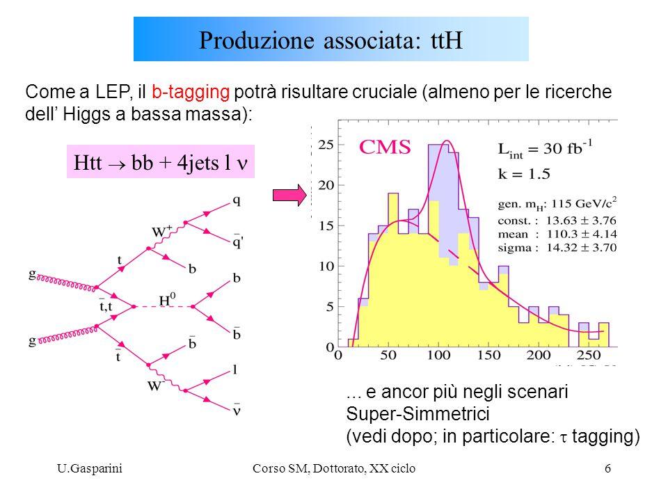 U.GaspariniCorso SM, Dottorato, XX ciclo17 Fisica oltre lo SM: bosoni di Higgs in SUSY Nelle teorie SuperSimmetriche (vedi dopo) il settore di Higgs si arricchisce di nuove particelle; nell' estensione supersimmetrica Minimale del modello standard (MSSM) vi sono due doppietti (complessi) di Higgs che danno luogo a 5 campi scalari fisici (3 neutri e 2 carichi; degli 8 gradi di liberta' originari, 3 sono assorbiti per dare massa ai bosoni W,Z, come nel Modello Standard) La fenomenologia degli Higgs supersimmetrici comprende : - Higgses prodotti via SM diagrams - decadimenti standard - decadimenti in s-particles - MSSM Higgses prodotti in decadimenti di squarks/ gluini L' importanza relativa dei vari processi dipende dagli spettri di massa delle varie particelle (Higgs e s-particles ), che a loro volta dipendono dai parametri di input scelti nello spazio dei (molti!) parametri della teoria