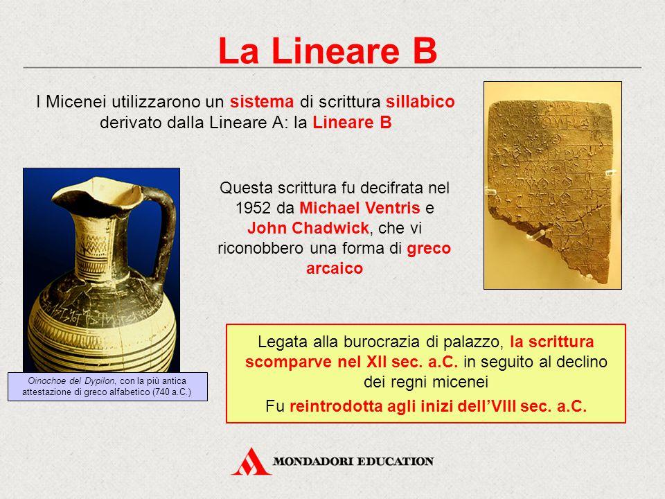 La Lineare B Legata alla burocrazia di palazzo, la scrittura scomparve nel XII sec. a.C. in seguito al declino dei regni micenei Fu reintrodotta agli