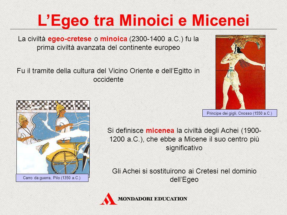 L'Egeo tra Minoici e Micenei La civiltà egeo-cretese o minoica (2300-1400 a.C.) fu la prima civiltà avanzata del continente europeo Fu il tramite dell