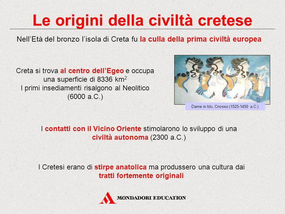 Le origini della civiltà cretese Dame in blu, Cnosso (1525-1450 a.C.) Nell'Età del bronzo l'isola di Creta fu la culla della prima civiltà europea Cre