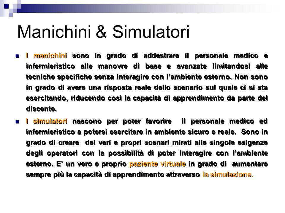 Manichini & Simulatori I manichini sono in grado di addestrare il personale medico e infermieristico alle manovre di base e avanzate limitandosi alle tecniche specifiche senza interagire con l'ambiente esterno.