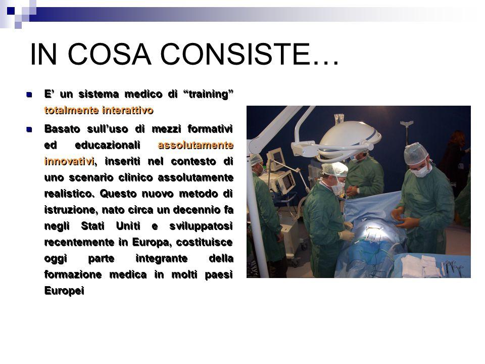 IN COSA CONSISTE… E' un sistema medico di training totalmente interattivo Basato sull'uso di mezzi formativi ed educazionali assolutamente innovativi, inseriti nel contesto di uno scenario clinico assolutamente realistico.