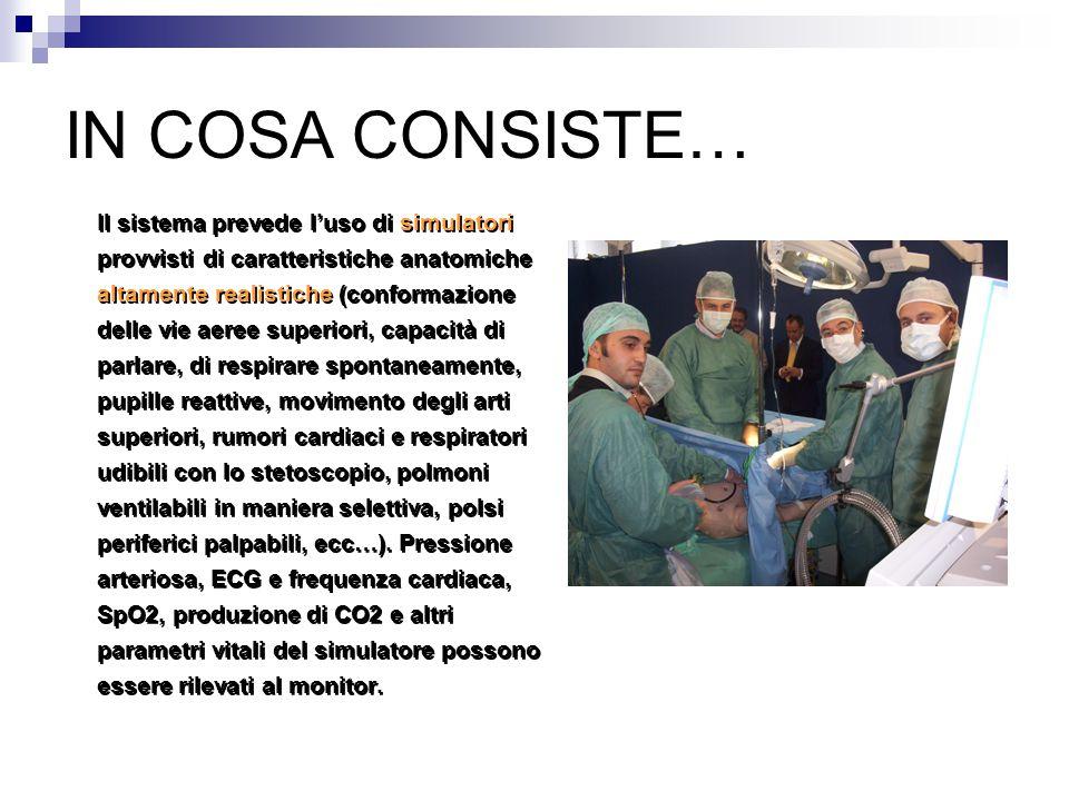 IN COSA CONSISTE… Il sistema prevede l'uso di simulatori provvisti di caratteristiche anatomiche altamente realistiche (conformazione delle vie aeree