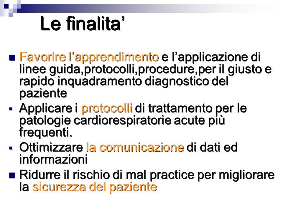Le finalita' Favorire l'apprendimento e l'applicazione di linee guida,protocolli,procedure,per il giusto e rapido inquadramento diagnostico del pazien