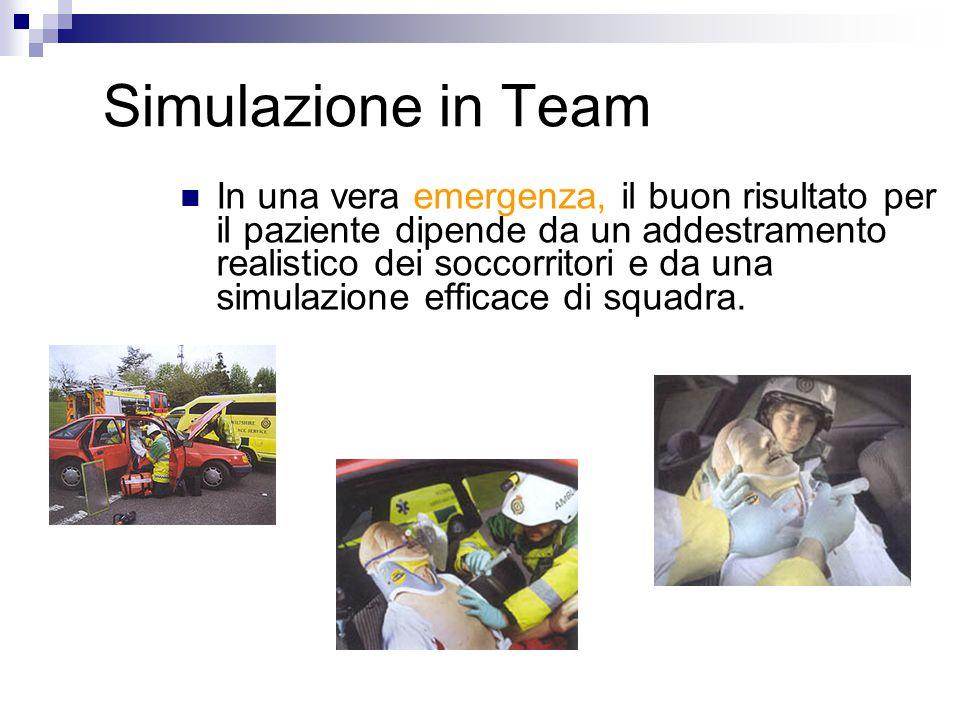 Simulazione in Team In una vera emergenza, il buon risultato per il paziente dipende da un addestramento realistico dei soccorritori e da una simulazione efficace di squadra.