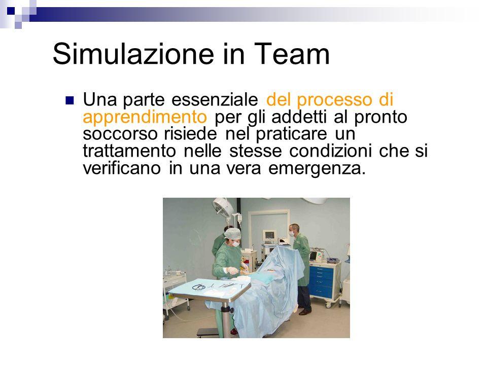 Simulazione in Team Una parte essenziale del processo di apprendimento per gli addetti al pronto soccorso risiede nel praticare un trattamento nelle stesse condizioni che si verificano in una vera emergenza.
