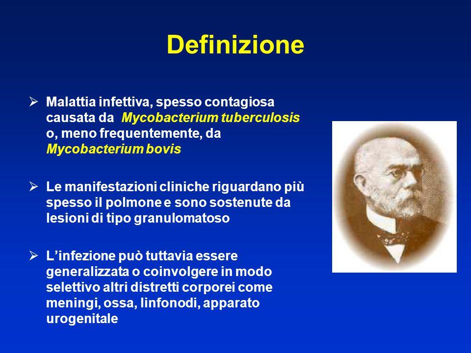 Definizione  Malattia infettiva, spesso contagiosa causata da Mycobacterium tuberculosis o, meno frequentemente, da Mycobacterium bovis  Le manifest