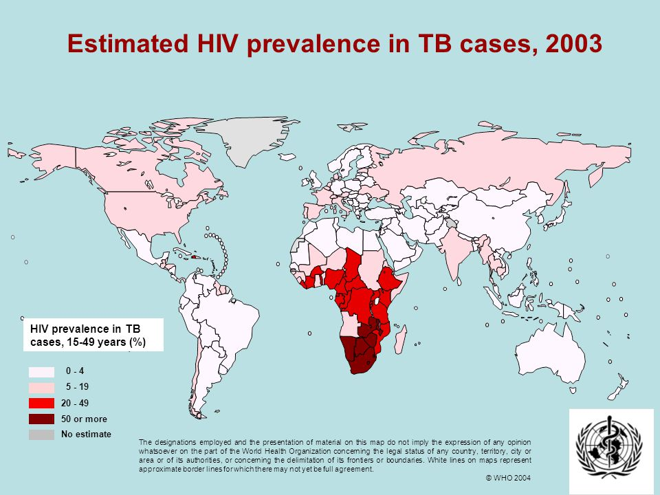 23 Estimated HIV prevalence in TB cases, 2003 0 - 4 5 - 19 20 - 49 50 or more HIV prevalence in TB cases, 15-49 years (%) No estimate The designations