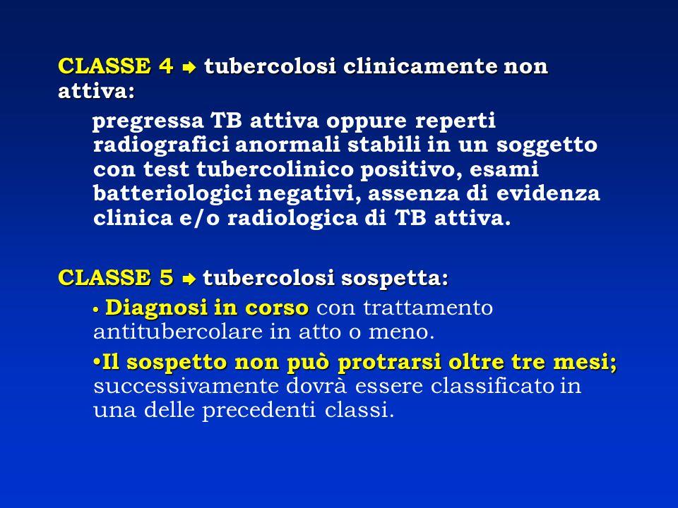 CLASSE 4  tubercolosi clinicamente non attiva: pregressa TB attiva oppure reperti radiografici anormali stabili in un soggetto con test tubercolinico