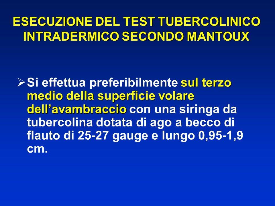 ESECUZIONE DEL TEST TUBERCOLINICO INTRADERMICO SECONDO MANTOUX sul terzo medio della superficie volare dell'avambraccio  Si effettua preferibilmente