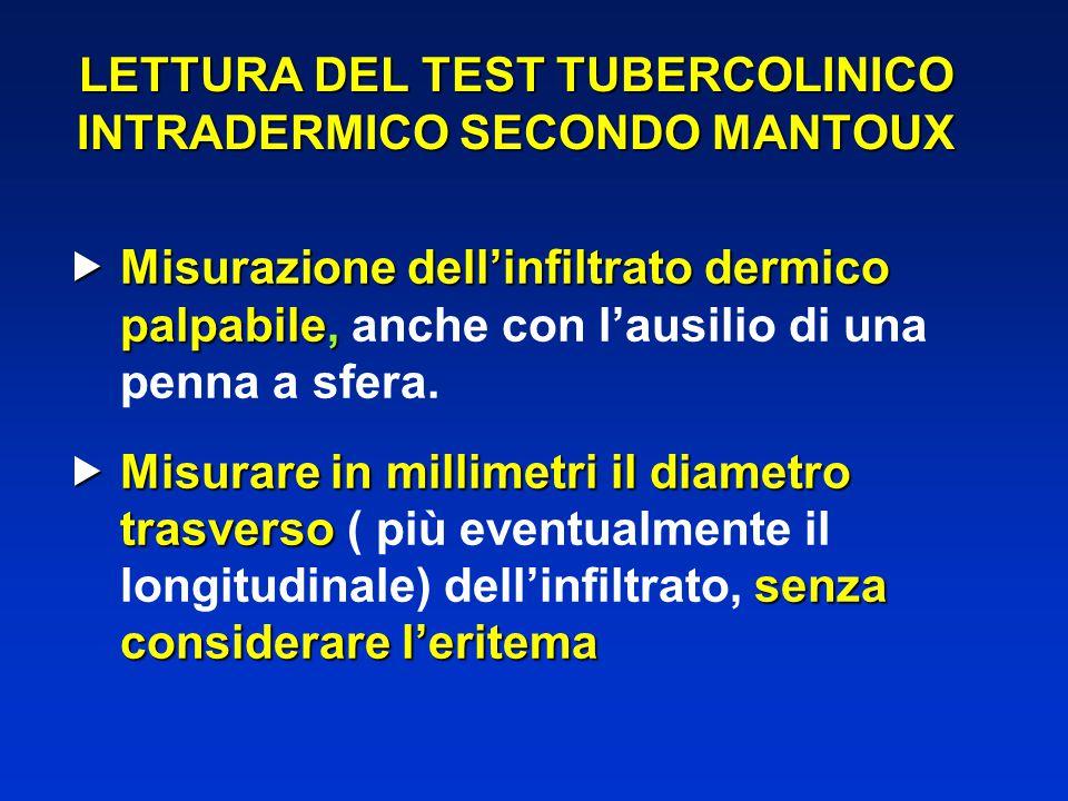 LETTURA DEL TEST TUBERCOLINICO INTRADERMICO SECONDO MANTOUX  Misurazione dell'infiltrato dermico palpabile,  Misurazione dell'infiltrato dermico pal