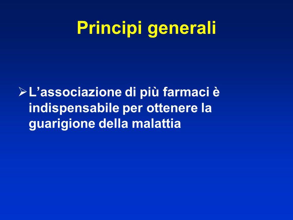 Principi generali  L'associazione di più farmaci è indispensabile per ottenere la guarigione della malattia