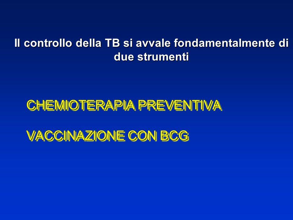 Il controllo della TB si avvale fondamentalmente di due strumenti CHEMIOTERAPIA PREVENTIVA VACCINAZIONE CON BCG CHEMIOTERAPIA PREVENTIVA VACCINAZIONE