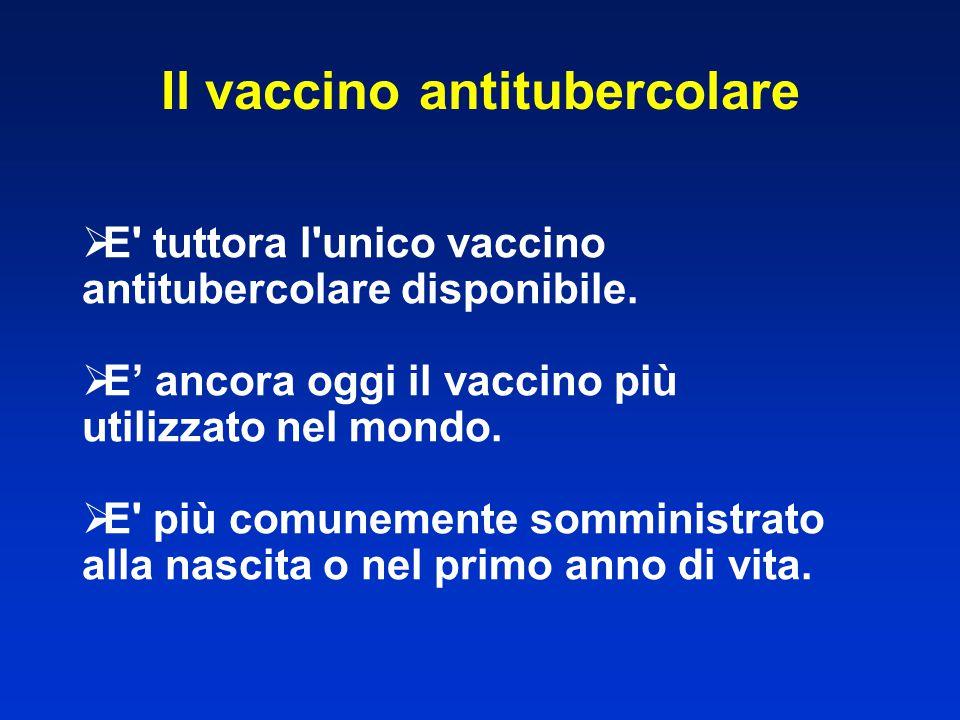  E' tuttora l'unico vaccino antitubercolare disponibile.  E' ancora oggi il vaccino più utilizzato nel mondo.  E' più comunemente somministrato all