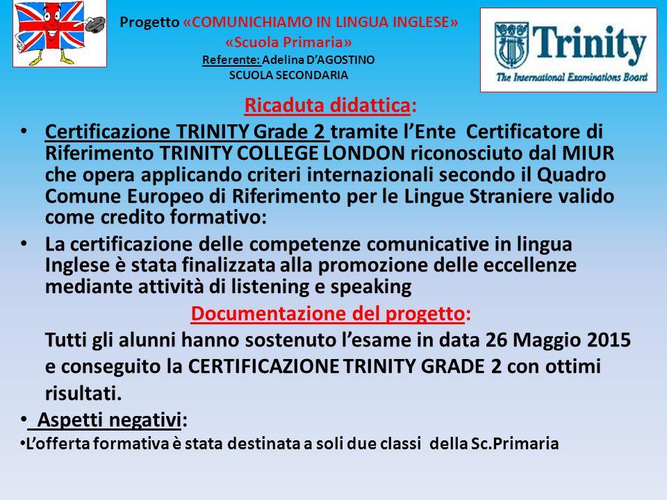 Ricaduta didattica: Certificazione TRINITY Grade 2 tramite l'Ente Certificatore di Riferimento TRINITY COLLEGE LONDON riconosciuto dal MIUR che opera