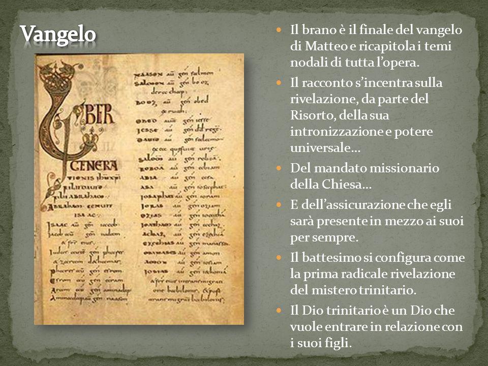 Il brano è il finale del vangelo di Matteo e ricapitola i temi nodali di tutta l'opera. Il racconto s'incentra sulla rivelazione, da parte del Risorto