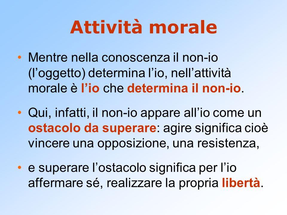Attività morale Mentre nella conoscenza il non-io (l'oggetto) determina l'io, nell'attività morale è l'io che determina il non-io. Qui, infatti, il no